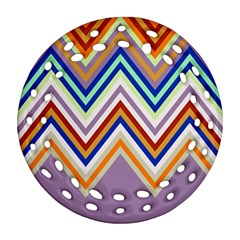 Chevron Wave Color Rainbow Triangle Waves Grey Round Filigree Ornament (two Sides) by Alisyart