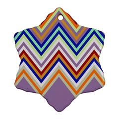 Chevron Wave Color Rainbow Triangle Waves Grey Snowflake Ornament (two Sides)