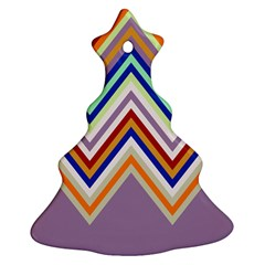 Chevron Wave Color Rainbow Triangle Waves Grey Christmas Tree Ornament (two Sides)