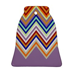Chevron Wave Color Rainbow Triangle Waves Grey Bell Ornament (two Sides)