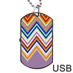 Chevron Wave Color Rainbow Triangle Waves Grey Dog Tag Usb Flash (two Sides) by Alisyart