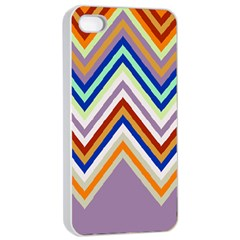 Chevron Wave Color Rainbow Triangle Waves Grey Apple Iphone 4/4s Seamless Case (white)