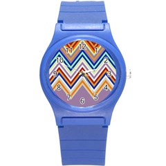 Chevron Wave Color Rainbow Triangle Waves Grey Round Plastic Sport Watch (s)