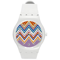 Chevron Wave Color Rainbow Triangle Waves Grey Round Plastic Sport Watch (m) by Alisyart
