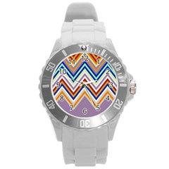 Chevron Wave Color Rainbow Triangle Waves Grey Round Plastic Sport Watch (l) by Alisyart
