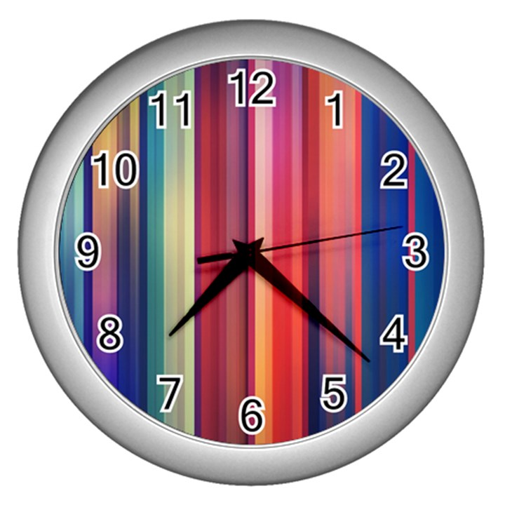 Texture Lines Vertical Lines Wall Clocks (Silver)