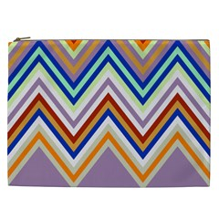 Chevron Wave Color Rainbow Triangle Waves Grey Cosmetic Bag (xxl)