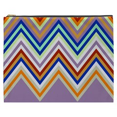 Chevron Wave Color Rainbow Triangle Waves Grey Cosmetic Bag (xxxl)