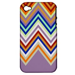 Chevron Wave Color Rainbow Triangle Waves Grey Apple Iphone 4/4s Hardshell Case (pc+silicone)