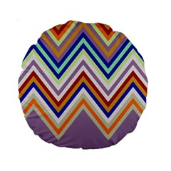 Chevron Wave Color Rainbow Triangle Waves Grey Standard 15  Premium Round Cushions