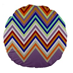 Chevron Wave Color Rainbow Triangle Waves Grey Large 18  Premium Round Cushions