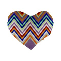 Chevron Wave Color Rainbow Triangle Waves Grey Standard 16  Premium Heart Shape Cushions