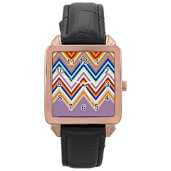 Chevron Wave Color Rainbow Triangle Waves Grey Rose Gold Leather Watch