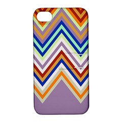 Chevron Wave Color Rainbow Triangle Waves Grey Apple Iphone 4/4s Hardshell Case With Stand
