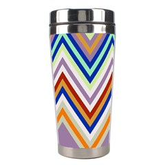 Chevron Wave Color Rainbow Triangle Waves Grey Stainless Steel Travel Tumblers