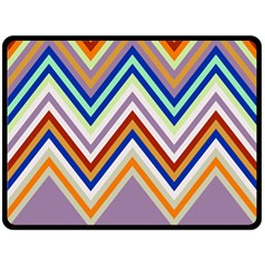 Chevron Wave Color Rainbow Triangle Waves Grey Double Sided Fleece Blanket (large)