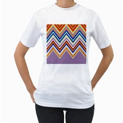 Chevron Wave Color Rainbow Triangle Waves Grey Women s T Shirt (white)