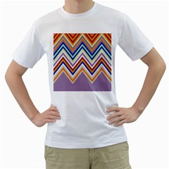 Chevron Wave Color Rainbow Triangle Waves Grey Men s T Shirt (white)