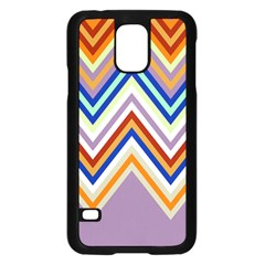 Chevron Wave Color Rainbow Triangle Waves Grey Samsung Galaxy S5 Case (black)