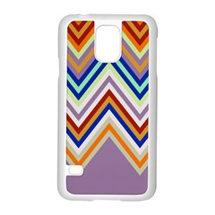 Chevron Wave Color Rainbow Triangle Waves Grey Samsung Galaxy S5 Case (white)
