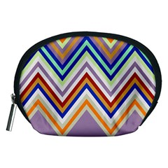 Chevron Wave Color Rainbow Triangle Waves Grey Accessory Pouches (medium)
