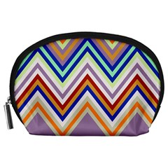 Chevron Wave Color Rainbow Triangle Waves Grey Accessory Pouches (large)