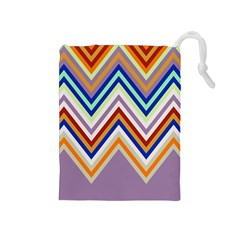 Chevron Wave Color Rainbow Triangle Waves Grey Drawstring Pouches (medium)