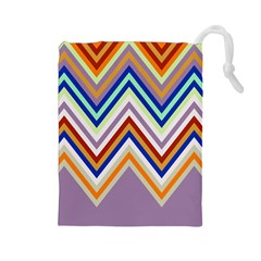 Chevron Wave Color Rainbow Triangle Waves Grey Drawstring Pouches (large)