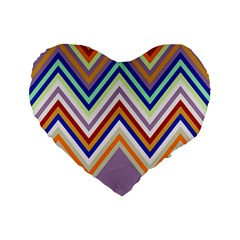 Chevron Wave Color Rainbow Triangle Waves Grey Standard 16  Premium Flano Heart Shape Cushions