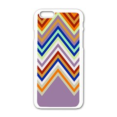 Chevron Wave Color Rainbow Triangle Waves Grey Apple Iphone 6/6s White Enamel Case
