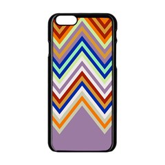 Chevron Wave Color Rainbow Triangle Waves Grey Apple Iphone 6/6s Black Enamel Case