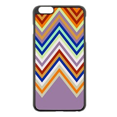 Chevron Wave Color Rainbow Triangle Waves Grey Apple Iphone 6 Plus/6s Plus Black Enamel Case