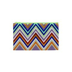 Chevron Wave Color Rainbow Triangle Waves Grey Cosmetic Bag (xs) by Alisyart