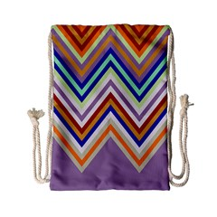 Chevron Wave Color Rainbow Triangle Waves Grey Drawstring Bag (small)