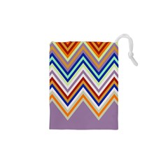 Chevron Wave Color Rainbow Triangle Waves Grey Drawstring Pouches (xs)