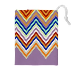 Chevron Wave Color Rainbow Triangle Waves Grey Drawstring Pouches (extra Large)