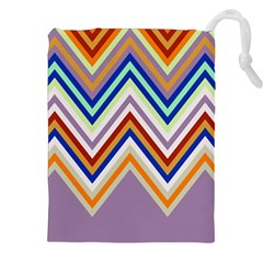 Chevron Wave Color Rainbow Triangle Waves Grey Drawstring Pouches (xxl)