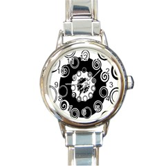Fluctuation Hole Black White Circle Round Italian Charm Watch
