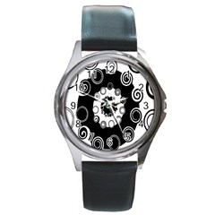 Fluctuation Hole Black White Circle Round Metal Watch