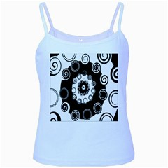 Fluctuation Hole Black White Circle Baby Blue Spaghetti Tank