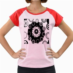 Fluctuation Hole Black White Circle Women s Cap Sleeve T Shirt