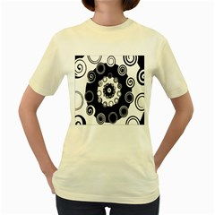 Fluctuation Hole Black White Circle Women s Yellow T Shirt