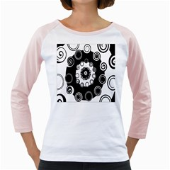 Fluctuation Hole Black White Circle Girly Raglans