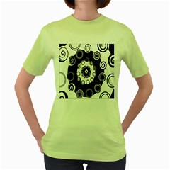 Fluctuation Hole Black White Circle Women s Green T Shirt