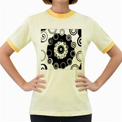 Fluctuation Hole Black White Circle Women s Fitted Ringer T Shirts