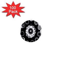 Fluctuation Hole Black White Circle 1  Mini Buttons (100 Pack)