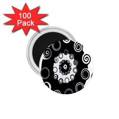 Fluctuation Hole Black White Circle 1 75  Magnets (100 Pack)