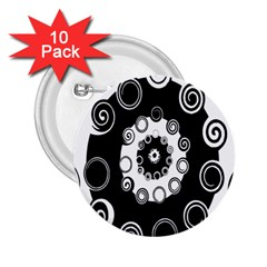 Fluctuation Hole Black White Circle 2 25  Buttons (10 Pack)