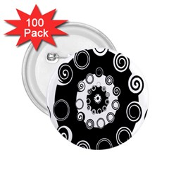 Fluctuation Hole Black White Circle 2 25  Buttons (100 Pack)