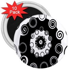 Fluctuation Hole Black White Circle 3  Magnets (10 Pack)